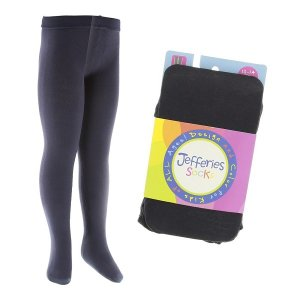 キッズ カラータイツ Jefferies socks スクールタイツ マイクロファイバー 無地 薄手 ホワイト/ネイビー/ブラック 通学 ストッキング ジュニア apricos