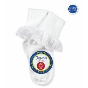 ベビー キッズ ホワイトソックスセット Jefferies socks 2種類のレースが楽しめる2足セット 白 無地 レース コットン 卒業式 入学式 七五三 結婚式 発表会 apricos