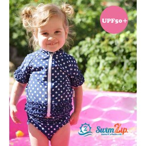 ベビー キッズ 水着 SwimZip Sassy Surfer Blue 半袖 ラッシュガード水着セット キッズ水着 子供水着 セパレート ネイビー 水玉 フリル 海水浴 スイムジップ|apricos