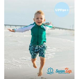 キッズ 水着 SwimZip Palm Leaves 長袖 ラッシュガード水着セット キッズ水着 子供水着 トランクス 海水浴 スイミング ジップアップ 上下セット スイムジップ|apricos