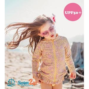 ベビー キッズ 水着 SwimZip Disty Floral 長袖 ラッシュガード水着セット キッズ水着 子供水着 セパレート UVカット 海水浴 スイミング スイムジップ|apricos