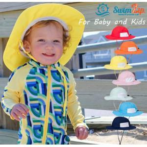 ベビー キッズ 帽子 UVカット SwimZip サンハット 2-8才 紫外線防止 ベビー 水着とお揃い 無地 長さ調整可能 紐つき 蒸れにくい|apricos
