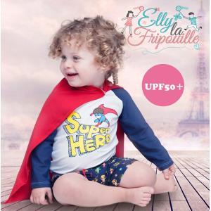 ベビー インポート 水着 Elly La Fripouille スーパーヒーロー ラッシュガード&パンツ水着セット マント付き  子供水着 ベビースイミング Baby Kids |apricos