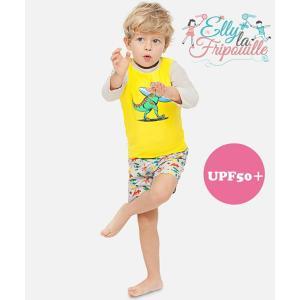 ベビー インポート 水着 Elly La Fripouille 恐竜  ラッシュガード&パンツ水着セット 子供水着 ベビースイミング Baby Kids ダイナソー|apricos