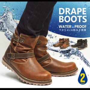 靴 メンズ レインブーツ スノーブーツ ワークブーツ ブーツ メンズ 防寒 防水ブーツ レインシューズ スノーシューズ エンジニアブーツ 2017 冬|apricot-town