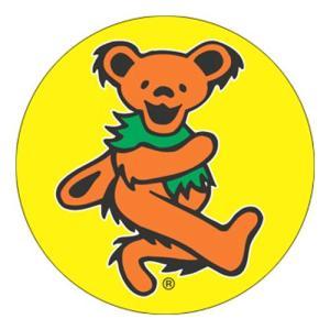 GRATEFUL DEAD(グレイトフル・デッド):Dancing Bear 缶バッジ/オレンジ【小物 雑貨 グッズ 缶バッジ】|aprilfoolstore