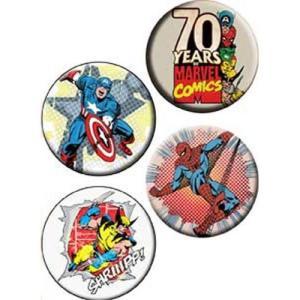 Marvel(マーベル):70周年記念レトロ缶バッジセット/32mm【小物 雑貨 グッズ 缶バッジ】|aprilfoolstore