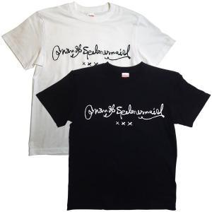 オナン・スペルマーメイド:オナン・スペルマーメイドのサインロゴTシャツ/ホワイト&ブラック/メンズ&レディース【ファッション グッズ Tシャツ】|aprilfoolstore