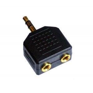 【代引不可】ANE 一体型 イヤホンスプリッター 2分配 ブラック 端子 金メッキ [イヤホン分配ケーブル] [オーディオ接続ケーブル:ヘッドホン等に接続:ミキシング]