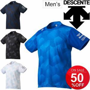 Tシャツ 半袖 メンズ/デサント DESCENTE MoveSport ランニング ジョギング トレーニング ジム 男性用 総柄 スポーツウェア/DMMMJA56