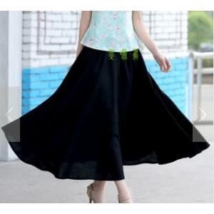 春夏 レディース スカート マキシスカート ロングスカート ボヘミアン ポケット付き ウエストゴム 花柄BK001|aqin