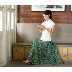 レディース スカート マキシスカート ロングスカート ボヘミアン ポケット付き ウエストゴム 春夏 花柄 GN002|aqin