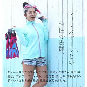 ラッシュガード レディース HeleiWaho ヘレイワホ 長袖 ジップアップ フードなし UPF50+ で UVカット と 大きいサイズ で 体型カバー|aqrosnetshop|07