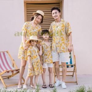 親子 アロハシャツ 親子コーデ 上下セット カップル 親子ペア ペアルック 夏服 お揃い アロハ ワンピース リゾートワンピース 子供服 半袖 ゆったり|aqua-mall