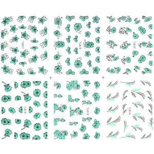 ネイル メタルパーツ風ネイルシール シルバーフレーム 12種set-2|aqua-nail