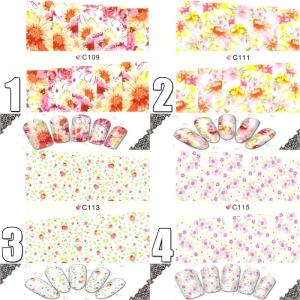 ウォーターネイルシール 花柄 選べる17種類 極薄・重ね貼りOK|aqua-nail