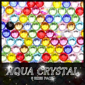 高品質ガラスストーン 6サイズパック SS16 SS12 SS10 SS8 SS6 SS4 ラインストーン クリスタル ネイル デコ レジン|aqua-nail