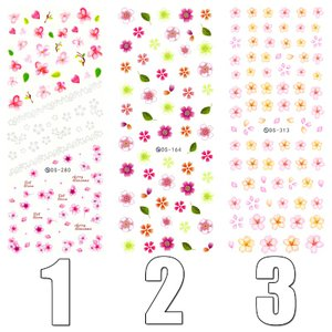 ウォーターネイルシール 花柄 選べる18種類 極薄・重ね貼りOK|aqua-nail