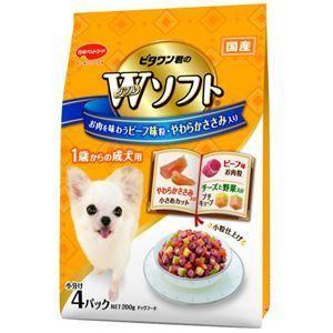 ビタワン君のWソフト 成犬用 お肉を味わうビーフ味粒・やわらかささみ入り 200g|aquabase