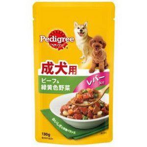 ぺディグリー パウチ 成犬用 ビーフ&緑黄色色野菜レバー入り 130g 【特売】|aquabase