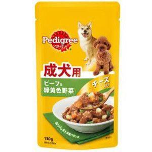 ぺディグリー パウチ 成犬用 ビーフ&緑黄色野菜チーズ入り 130g 【特売】|aquabase