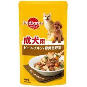 ぺディグリー パウチ 成犬用 ビーフ&チキン&緑黄色野菜 130g 【特売】|aquabase