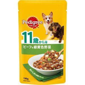 ぺディグリー パウチ 11歳から用 ビーフ&緑黄色野菜 130g 【特売】|aquabase