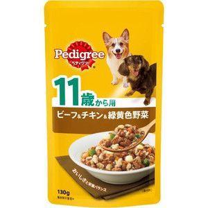 ぺディグリー パウチ 11歳から用 ビーフ&チキン&緑黄色野菜 130g 【特売】|aquabase
