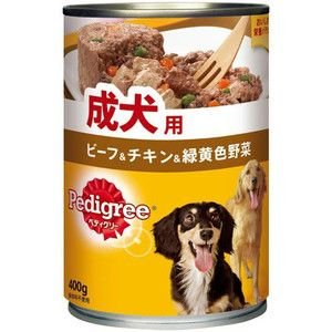 ペディグリー 缶 成犬用 旨みビーフ&チキン&緑黄色野菜 400g 【特売】|aquabase