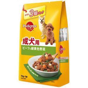 ペディグリー パウチ 成犬用 ビーフ&緑黄色野菜 70g×3袋入 【特売】|aquabase