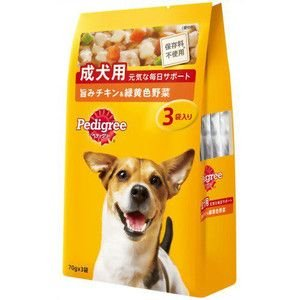 ペディグリー パウチ 成犬用 チキン&緑黄色野菜 70g×3袋入 【特売】|aquabase