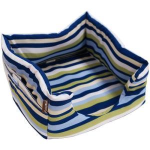 ドギーマン にゃんこの隠れ家ベッド ブルーストライプ|aquabase