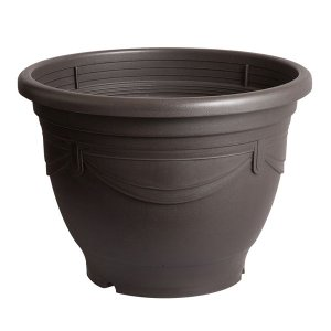 スドー メダカの深鉢 黒茶 18号 【特殊梱包】 aquabase