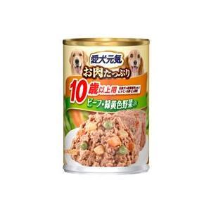 愛犬元気 缶 10歳以上用 ビーフ・緑黄色野菜入り 375g|aquabase