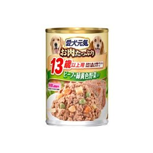 愛犬元気 缶 13歳以上用 ビーフ・緑黄色野菜入り 375g 【特売】|aquabase