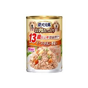 愛犬元気 缶 13歳以上用 ビーフ・チキン・野菜入り 375g 【特売】|aquabase