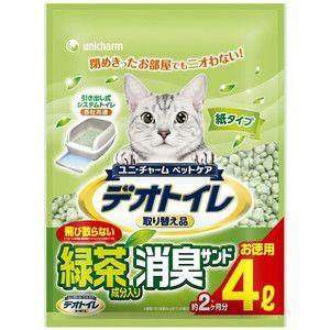 ユニチャーム 1週間消臭・抗菌デオトイレ 飛散らない緑茶成分入り・消臭サンド 4L 【特売】|aquabase