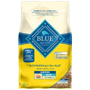 ブルーバッファロー 成犬用 体重管理用 チキン&玄米レシピ 2.5kg 【プレミアムおやつ付き】|aquabase