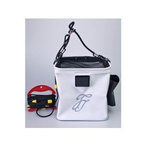 EVAメッシュフタ角バッカン BK-2025 ホワイト ロープ&エアポンプ用ポケット付 ファインジャパン 釣り具|aquabeach2