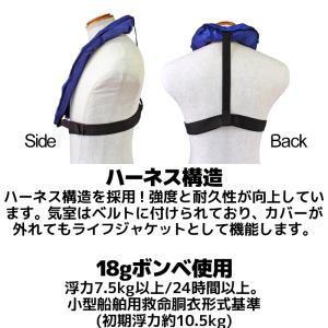 手動膨張式ライフジャケット BSJ-2300RS ブルー サスペンダータイプ(肩掛け式) BLUESTORM 高階救命器具 国交省認定品 タイプA 検定品 桜マーク付 釣り|aquabeach2|03