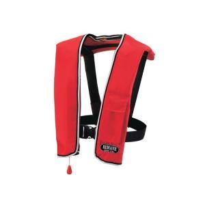 自動膨張式 ライフジャケット 肩掛式 オーシャンLG-1型レッド 胸囲150cmまで対応 国交省認定品 タイプA 検定品 桜マーク付|aquabeach2