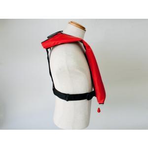 自動膨張式 ライフジャケット 肩掛式 オーシャンLG-1型レッド 胸囲150cmまで対応 国交省認定品 タイプA 検定品 桜マーク付|aquabeach2|02