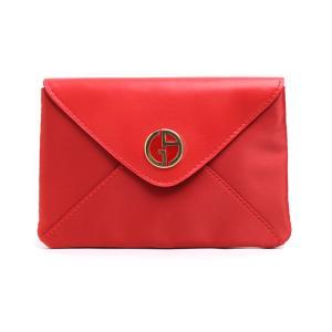 ジョルジオ アルマー フラット ポーチ レッド (マグネット開閉) GIORGIO ARMANI RED  FLAT POUCH [ノベルティ] 化粧 ブランド|aquabouquet