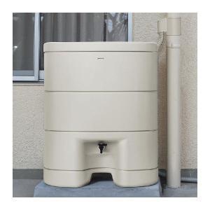 パナソニック レインセラー200(MQW103) 雨水貯留タンク + 一般たてとい用接続部材 (取出します・戻します) MQW120 パールグレー(しろ) セット|aquaearth