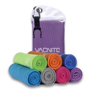 VACNITE クールタオル 速乾タオル 超吸水 軽量 速乾 熱中症対策 100×30cm 1枚 7色選択可能 防水袋付き (パープル)