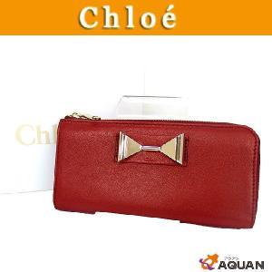 Chloe クロエ レイチェル リボン L字ファスナー式 長財布 サイフ レザー 朱色 赤 未使用 送料込み|aquankyoya