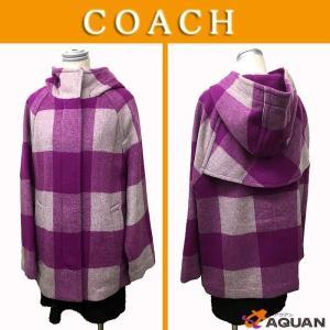 大特価セール COACH  コーチ コート フード付コート ボックスチェック パープル ウール 表記サイズS/P|aquankyoya