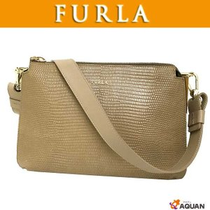 FURLA フルラ ショルダーバッグ ワンショルダー 型押しレザー ベージュ 送料込み|aquankyoya