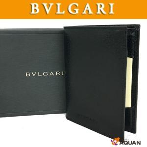 BVLGARI ブルガリ 財布 札入れ 手帳カバー カードケース レザー ブラック 未使用|aquankyoya