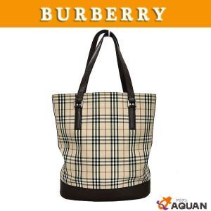 BURBERRY バーバリー トートバッグ バケツ型 レザー×キャンバス ブラウン×バーバリーチェック|aquankyoya